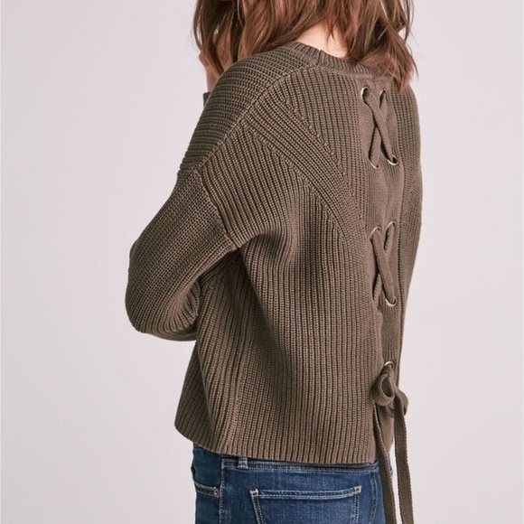 Lucky Brand Sweaters - Lucky Brand Olive Cropped Sweater W/ Lace Up Back